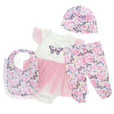 BG140: 4 pc Girls Set (0-9 Months)