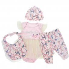 BG142: 4 pc Girls Set (0-9 Months)