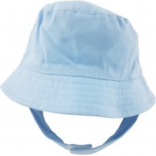0192-Sky: Baby Boys Plain Bucket Hat With Chin Strap (0-12 Months)