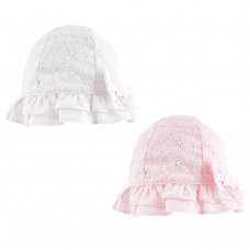 0295: Baby Girls Broderie Anglaise Bow Hat (0-6 Months)