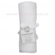 BW-112-1005W: Baby  Cellular Roll Blanket- White