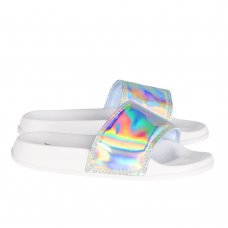 100C007: Girls Holographic Sliders  (Kids Shoe Sizes: 8-3)