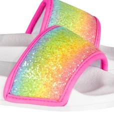 100C008: Girls Rainbow Glitter Sliders  (Kids Shoe Sizes: 8-3)