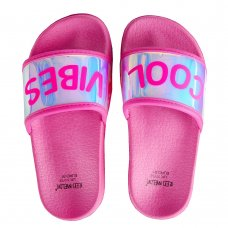 100C013: Girls Holographic Sliders- Cool Vibe (Kids Shoe Sizes: 8-3)