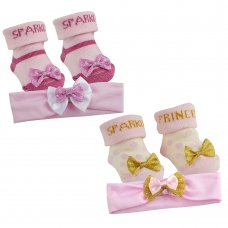 10C133: Baby Sparkle Headband & Sock Set (0-12 Months)