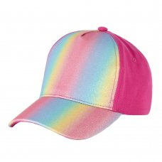 10C172-7-13: Older Girls Glitter Rainbow Cap (7-13 Years)