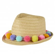 10C179-7-13: Older Girls Pom Pom Trilby Hat (7-13 Years)