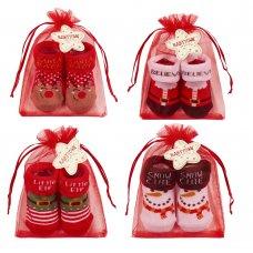 10C182: Baby Christmas Organza Bag Gift Socks (0-12 Months)