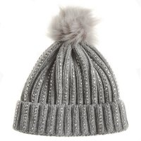 10C184: Girls Silver Studded Hat With Furry Pom  (2-13 Years)