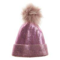 10C185: Girls Metallic Hat With Furry Pom  (2-13 Years)