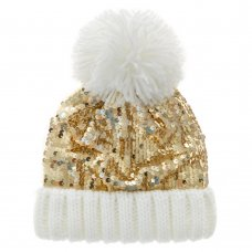10C202/7-13 Older Girls Gold Sequin  Hat (7-13 Years)
