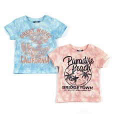 11C149: Baby Boys Tie Dyed T-Shirts With Print (3-24 Months)