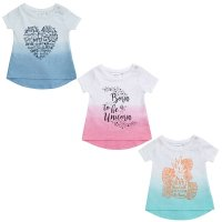 11C086: Baby Girls Dip Dyed T-Shirts With Print (3-24 Months)