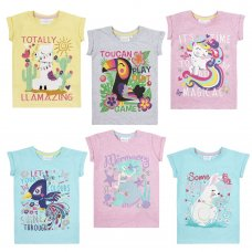 11C136: Infant Girls Novelty Printed Number T-Shirts (1-6 Years)