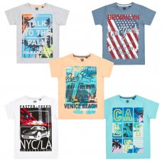 11C142: Older Boys Printed T-Shirts (7-13 Years)