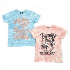 11C151: Older Boys Tie Dyed T-Shirts With Print (7-13 Years)
