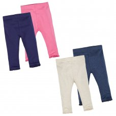 12C133: Baby Girls 2 Pack Leggings- Assorted Colours (3-24 Months)