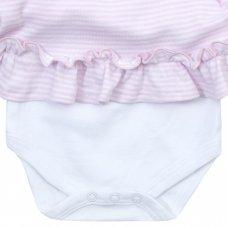 15C338: Baby Girls Floral/Stripe Bodysuit Dress (NB-12 Months)