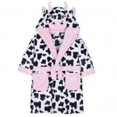 18C461: Infant Girls Novelty Cow Dressing Gown (2-6 Years)