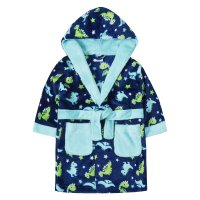 18C273: Infant Boys All Over Print Dinosaur Dressing Gown (2-6 Years)