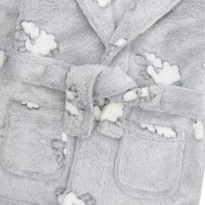 18C634: Baby Embossed All Over Print Lambs Hooded Dressing Gown (0-12 Months)