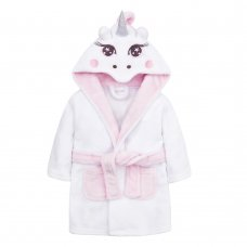 18C538: Baby Girls Novelty Unicorn Dressing Gown (6-24 Months)