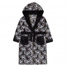18C551: Older Boys All Over Print Football Dressing Gown (7-13 Years)