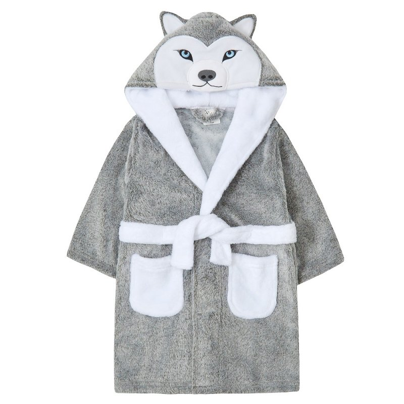 18C594: Infants Novelty Husky Dressing Gown (2-6 Years)