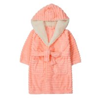 18C608: Infant Girls Jacquard Stripe Dressing Gown (2-6 Years)