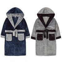 18C611: Older Boys Plush Contrast Dressing Gown (7-13 Years)
