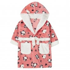 18C615: Infant Girls All Over Print Panda Dressing Gown (2-6 Years)