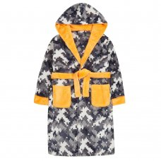 18C619: Older Boys All Over Pixels Dressing Gown (7-13 Years)