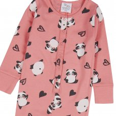 18C626: Infant Girls All Over Print Panda Cotton Jersey Onesie (2-6 Years)