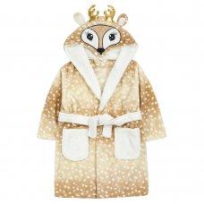 18C637: Infant Girls Novelty Deer  Dressing Gown (2-6 Years)