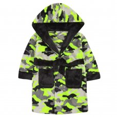 18C641: Infant Boys Neon Camo Dressing Gown (2-6 Years)
