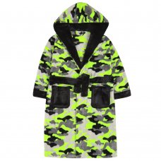 18C642: Older Boys Neon Camo Dressing Gown (7-13 Years)