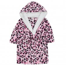 18C649: Infant Girls AOP Leopard Dressing Gown With Borg Trim (2-6 Years)