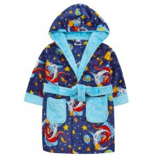 18C653: Infant Boys AOP Dragons Dressing Gown (2-6 Years)