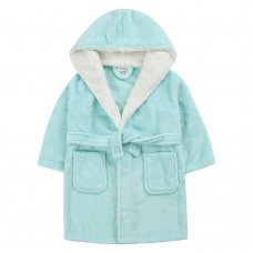 18C656: Infant Girls Plain Mint Dressing Gown With Borg Trim (2-6 Years)