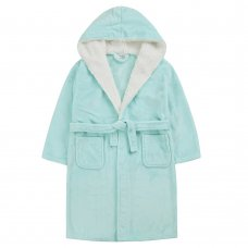 18C657: Older Girls Plain Mint Dressing Gown With Borg Trim (7-13 Years)