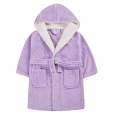 18C658: Infant Girls Plain Lilac Dressing Gown With Borg Trim (2-6 Years)