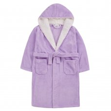 18C659: Older Girls Plain Lilac Dressing Gown With Borg Trim (7-13 Years)