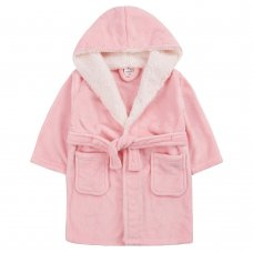 18C660: Infant Girls Plain Coral Dressing Gown With Borg Trim (2-6 Years)