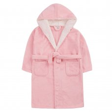 18C661: Older Girls Plain Coral Dressing Gown With Borg Trim (7-13 Years)