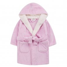 18C662: Infant Girls Plain Pink Dressing Gown With Borg Trim (2-6 Years)