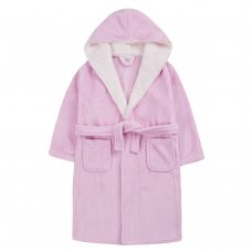 18C663: Older Girls Plain Pink Dressing Gown With Borg Trim (7-13 Years)