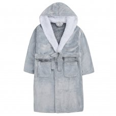 18C664: Older Girls Luxury Frosted Dressing Gown With Borg Trim (9-13 Years)