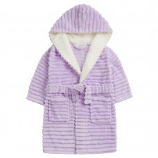 18C665: Infant Girls Jacquard Lilac Dressing Gown With Borg Trim (2-6 Years)