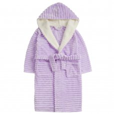 18C666: Older Girls Jacquard Lilac Dressing Gown With Borg Trim (7-13 Years)