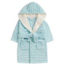 18C667: Infant Girls Jacquard Mint Dressing Gown With Borg Trim (2-6 Years)